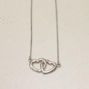 925 double hearts necklace 16 inch